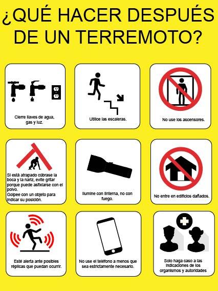 ¿Qué hacer después de un sismo? / INFOGRAFÍA JESSICA TATIANA HERNÁNDEZ ESTRADA.