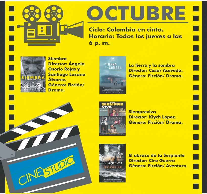 Infografía de la programación de películas para el mes de octubre en Cinestudio.